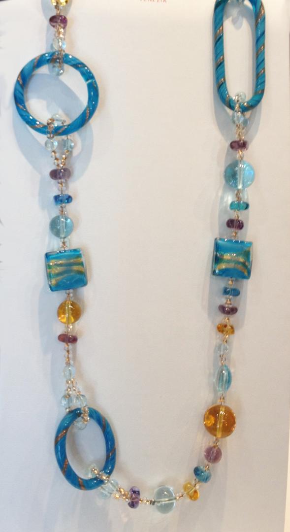 Murrano glass necklace multi color links aqua, gold colors