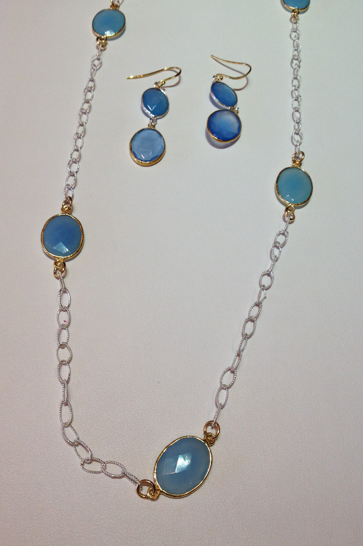 Chalcedony gems with 18kt white & yellow vermeil necklace and earrings