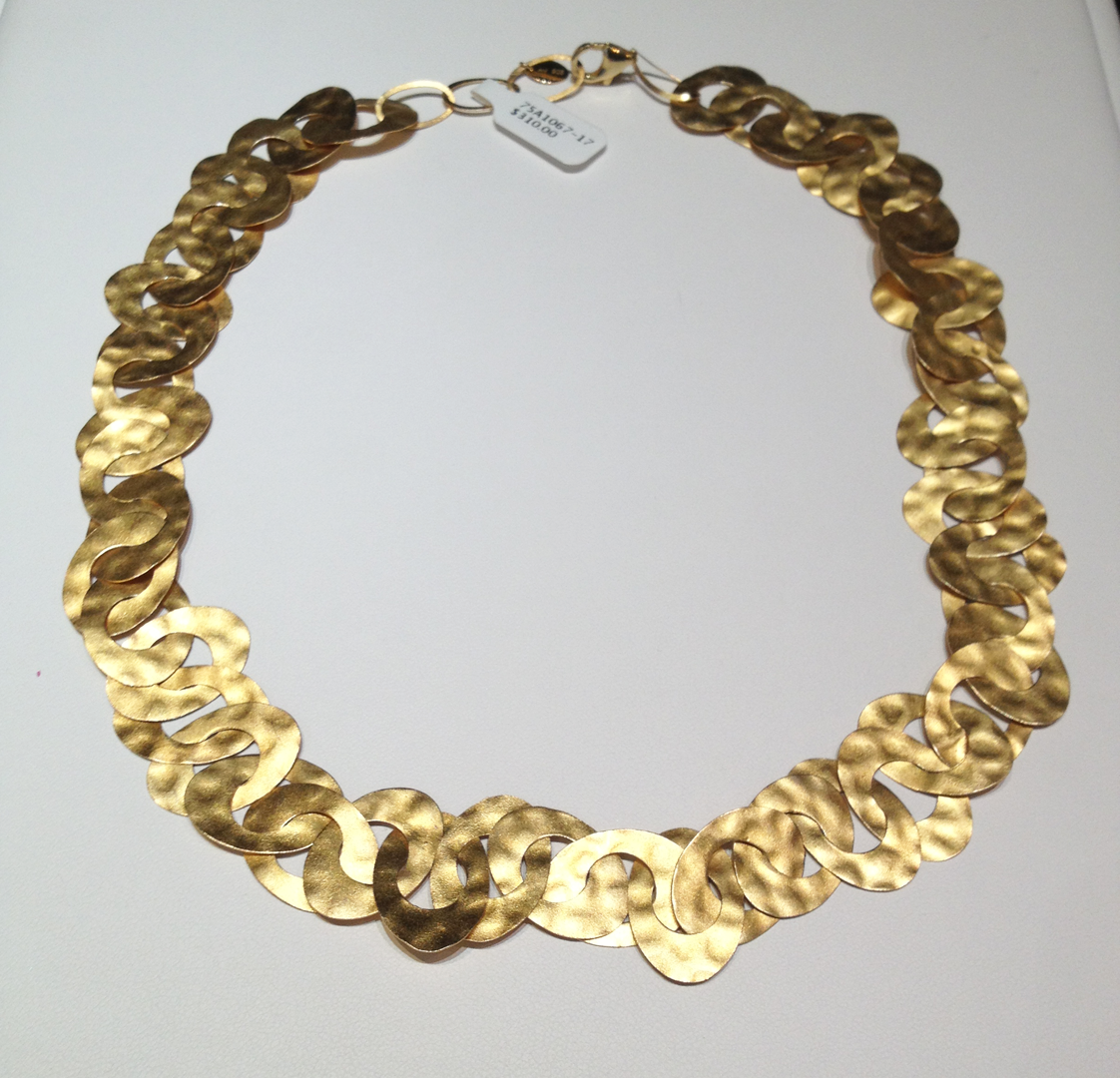18KT yellow gold verneil over sterling silver large Caravan necklace