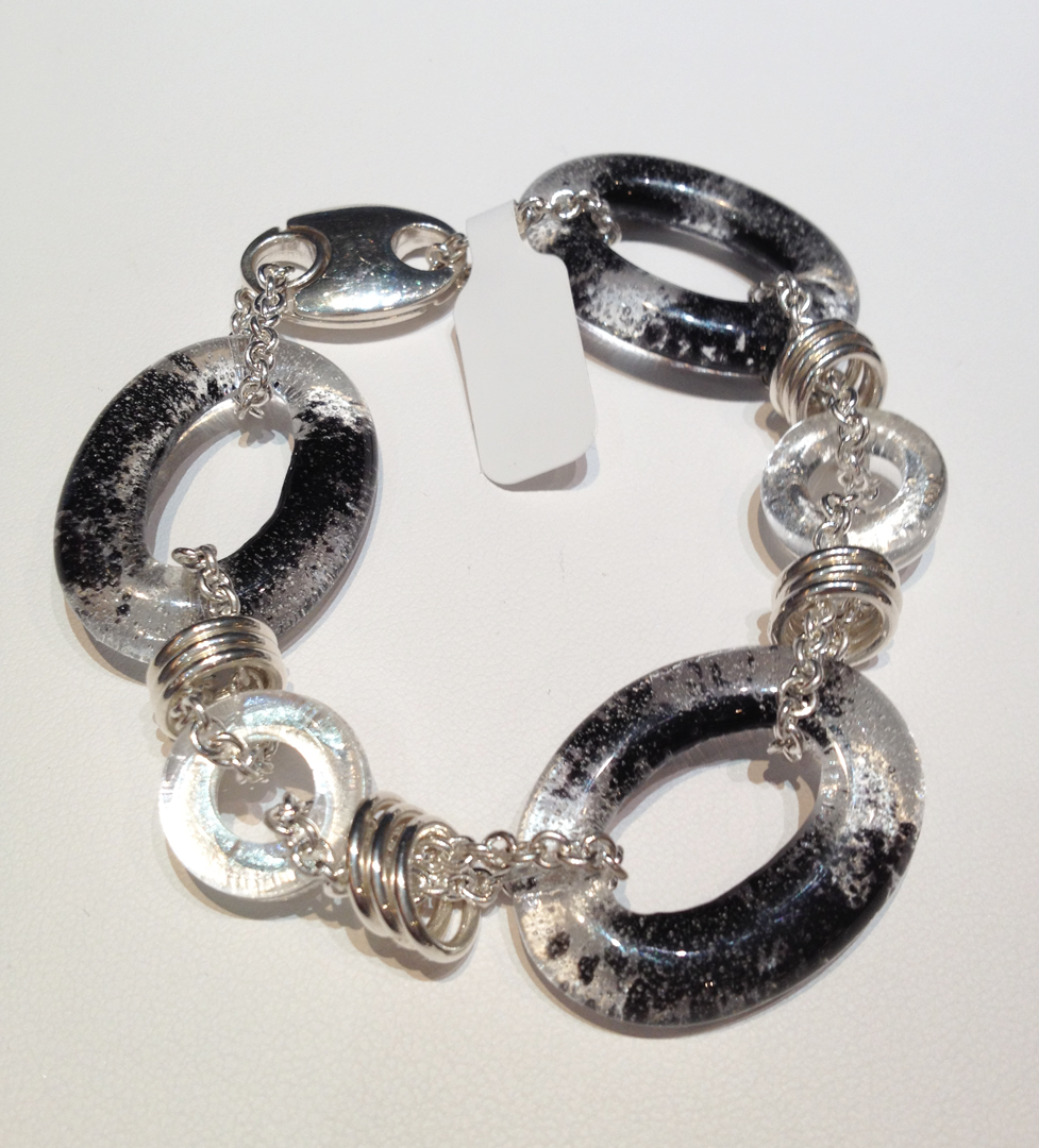 Black, clear and white glass links with sterling silver chain,jumrings and catch