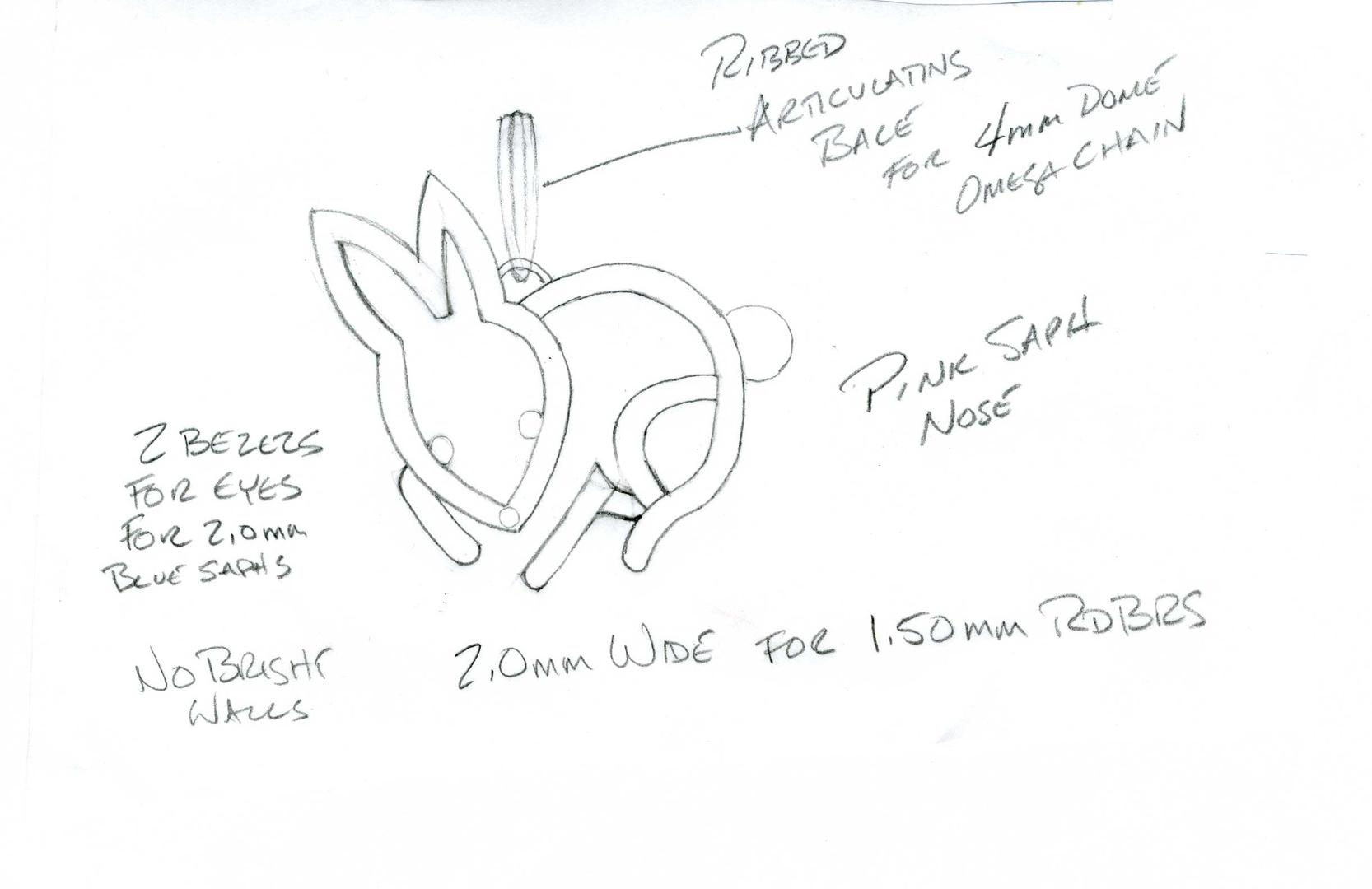 Drawing for diamond pavé bunny pendant