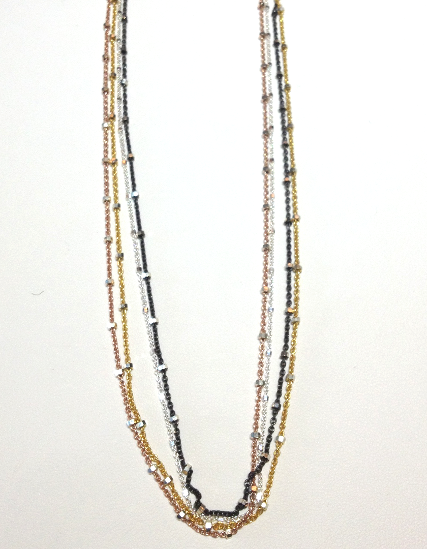 Sterling silver vermeil chains in 18KT yellow, rose, white and black rhodium