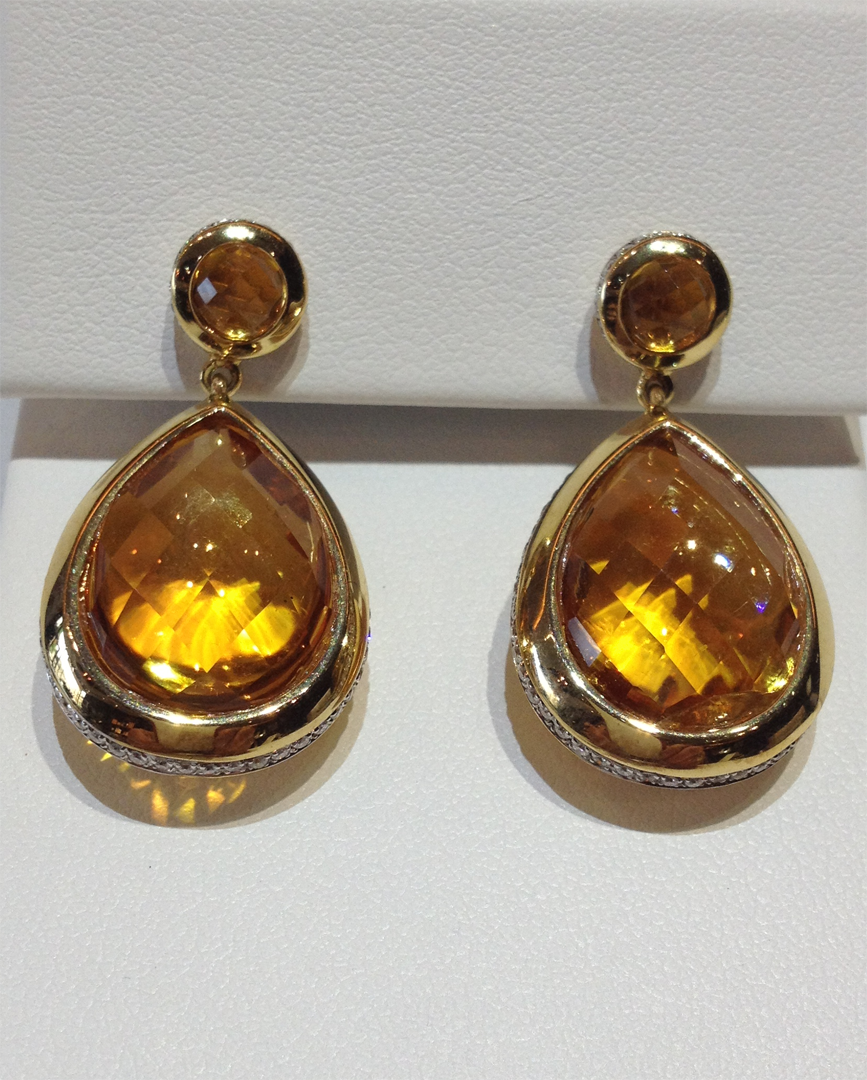 Citrine, diamond and 18KT yellow gold earrings