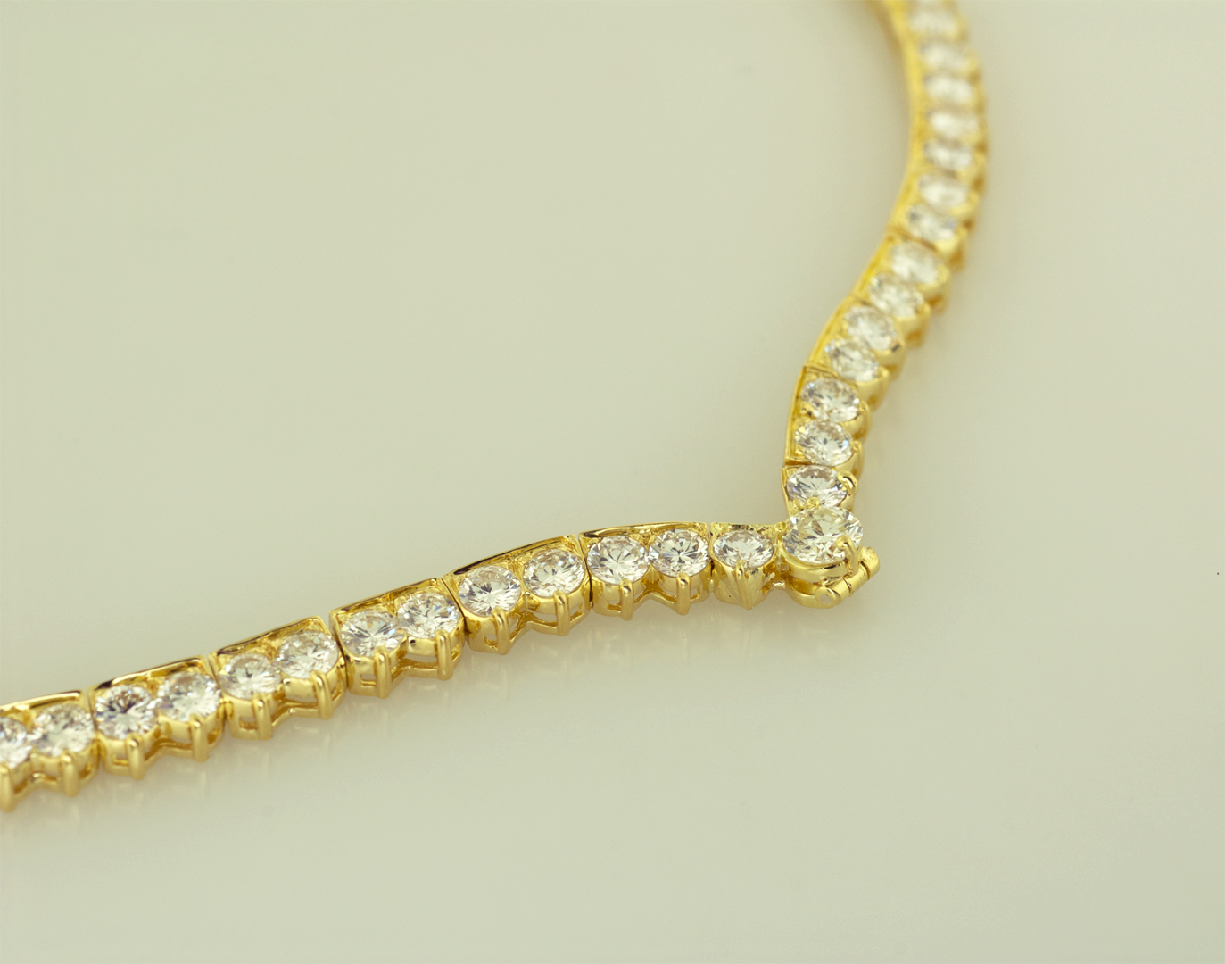 Diamond Riviera  Necklace with Articulating Loop Closed