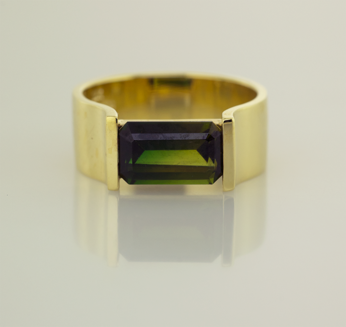 18KT Yellow Gold and Bi-Color Tourmaline Modern Ring