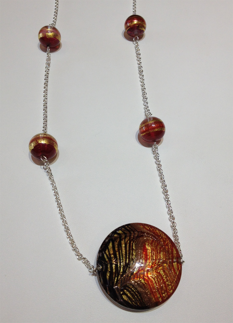 Venetian glass beads on sterling silver chain