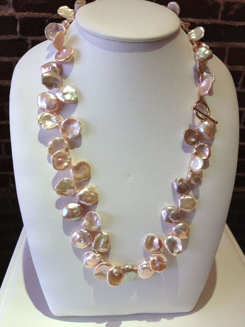 Keisha pearls with a 14KT yellow gold toggle catch