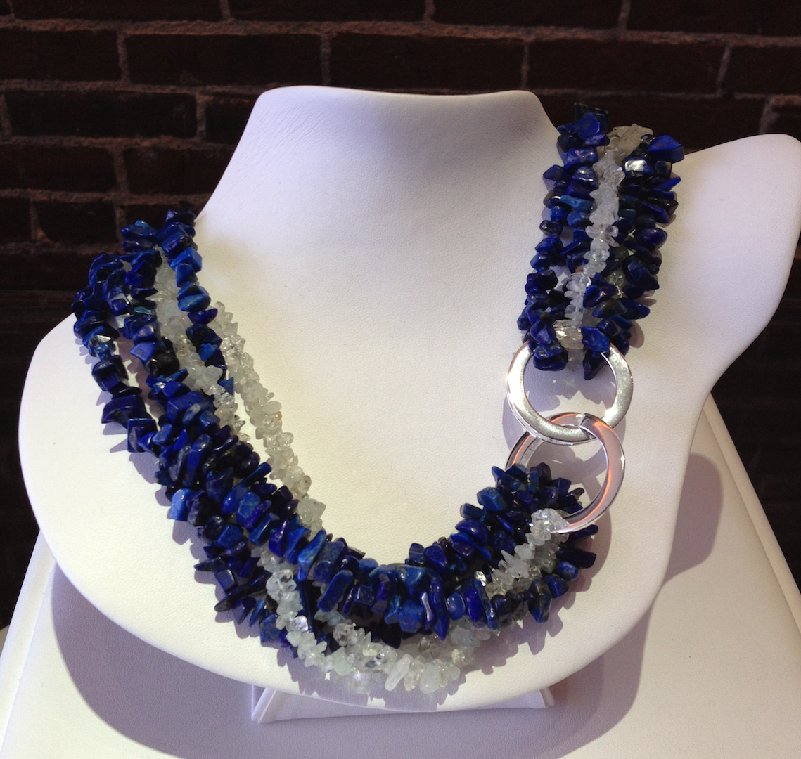Lapis and aquamarine beads with a sterling silver catch
