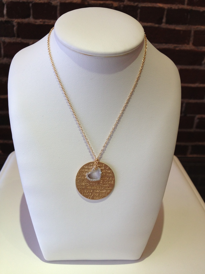 Love in many languages pendant in in 14KT yellow gold with .15ct. diamonds