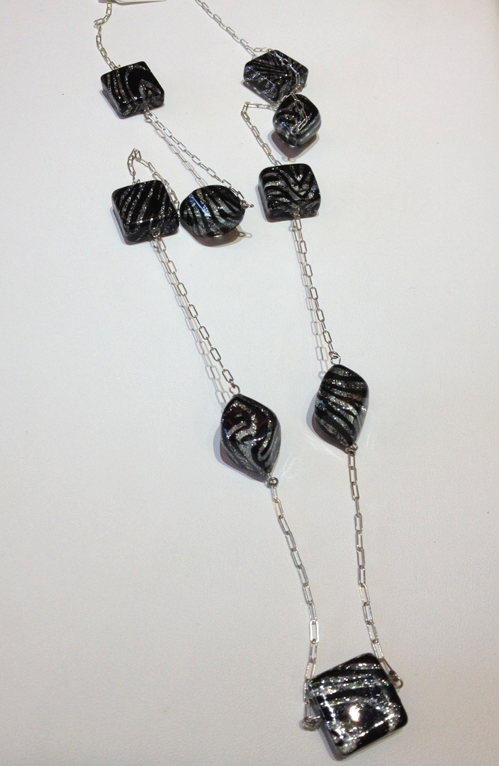 Italian Glass Beads and Sterling Silver Chain