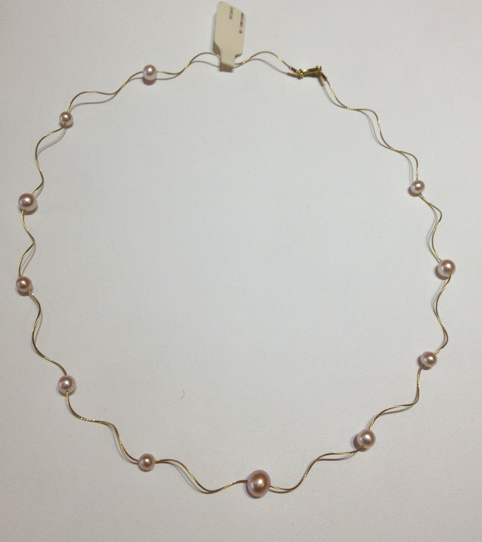 14KT yellow gold wire necklace with freshwater pearls