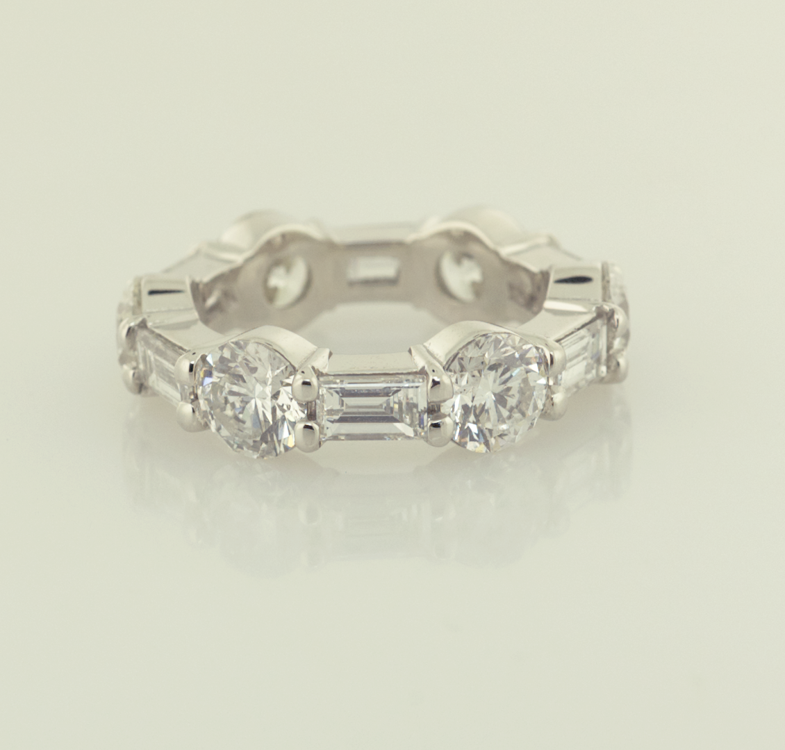 Platinum, Round and Baguette eternity band set 3.60ct rounds 1.87ct baguettes