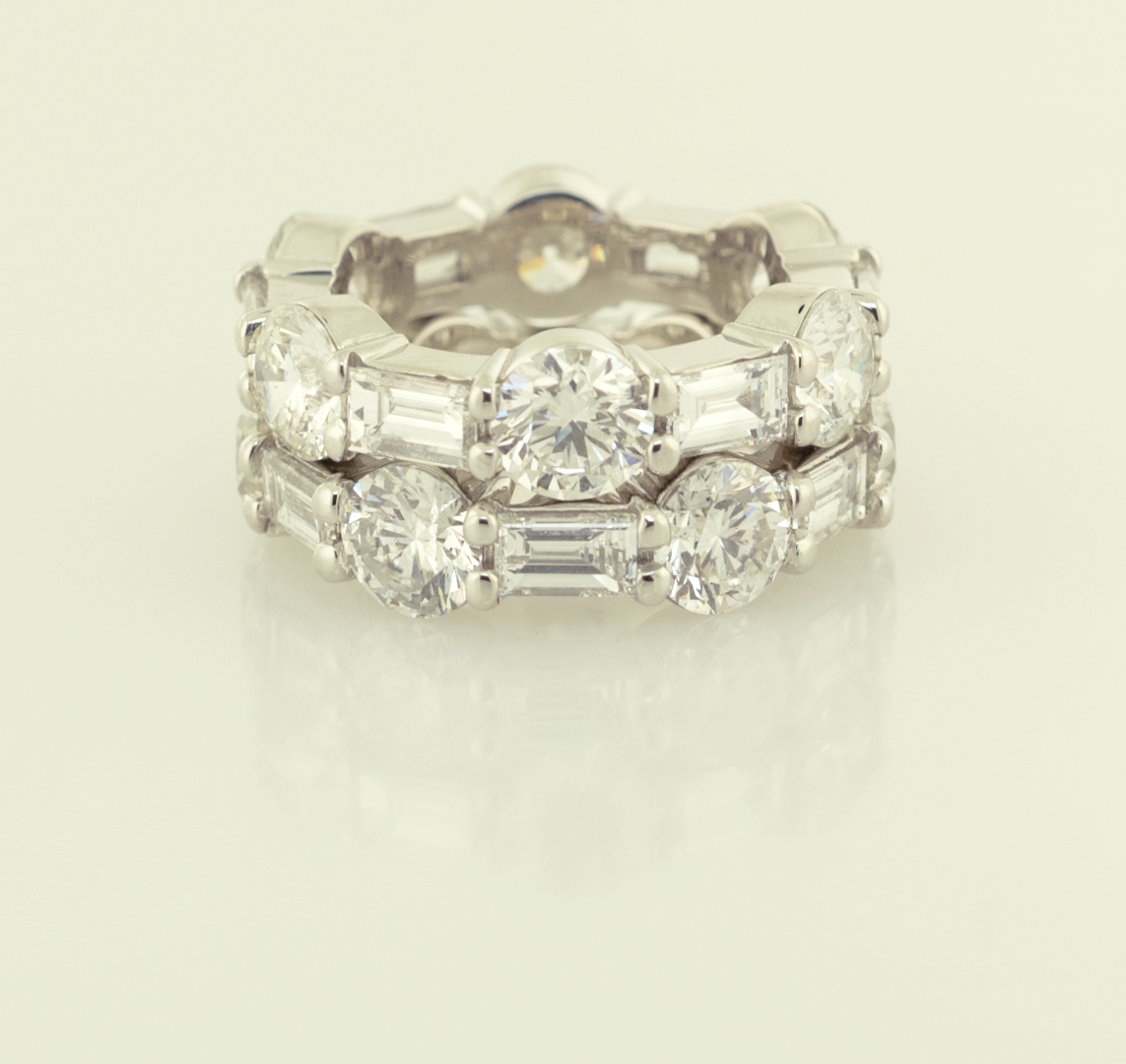 Platinum, Round and Baguette eternity bands  each 3.60ct rounds 1.87ct baguettes