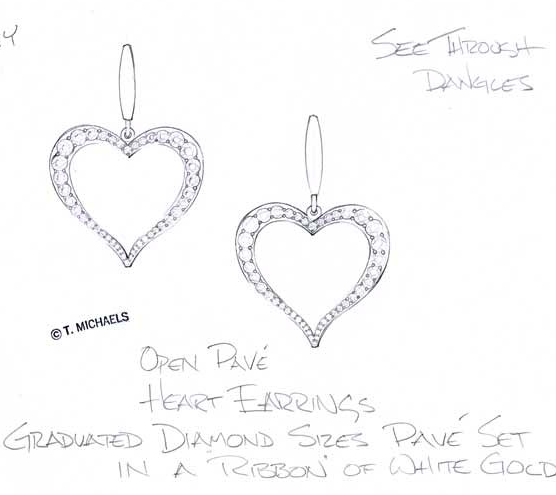 Sketch for diamond heart earrings