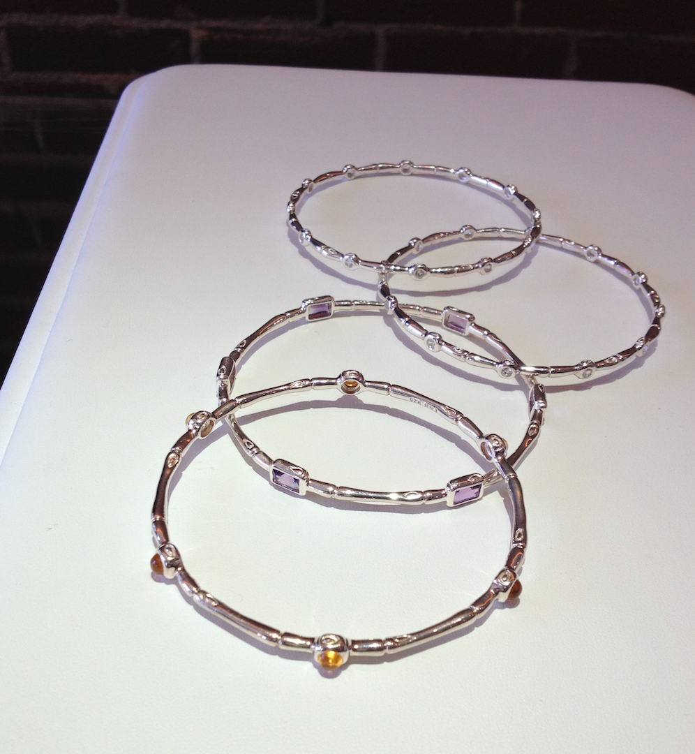 Sterling silver bamboo bracelets with accent gemstones, amethyst, citrine, topaz