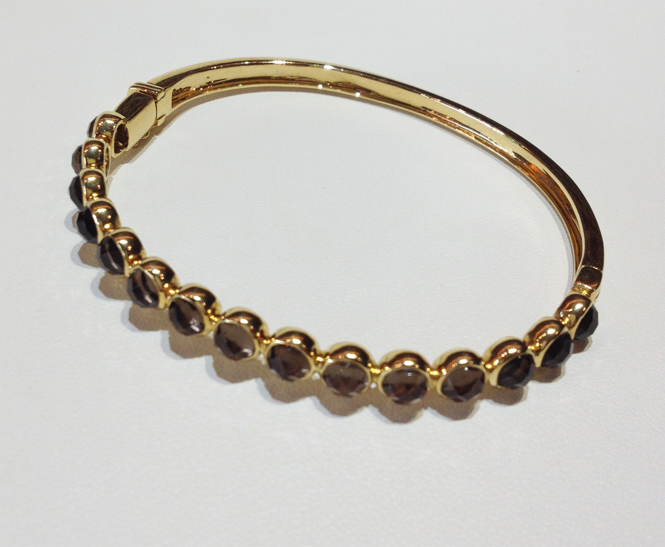Smoky quartz and 18KT yellow gold bangle bracelet