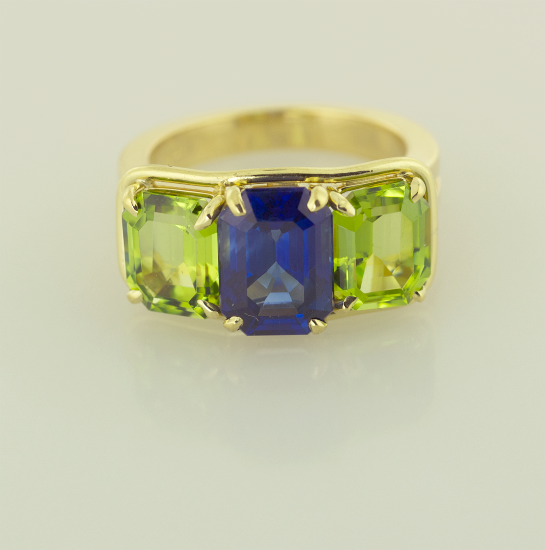Emerald Cut Sapphires and Peridots in 18KT Yellow Gold Ring Front View