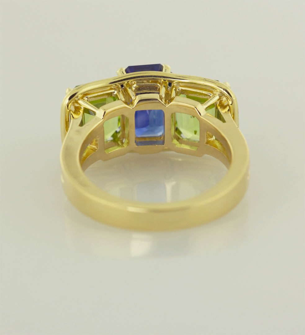 Emerald Cut Sapphires and Peridots in 18KT Yellow Gold Ring