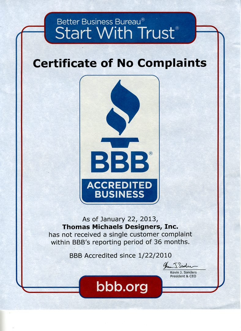 Better Business Bureau Certificate