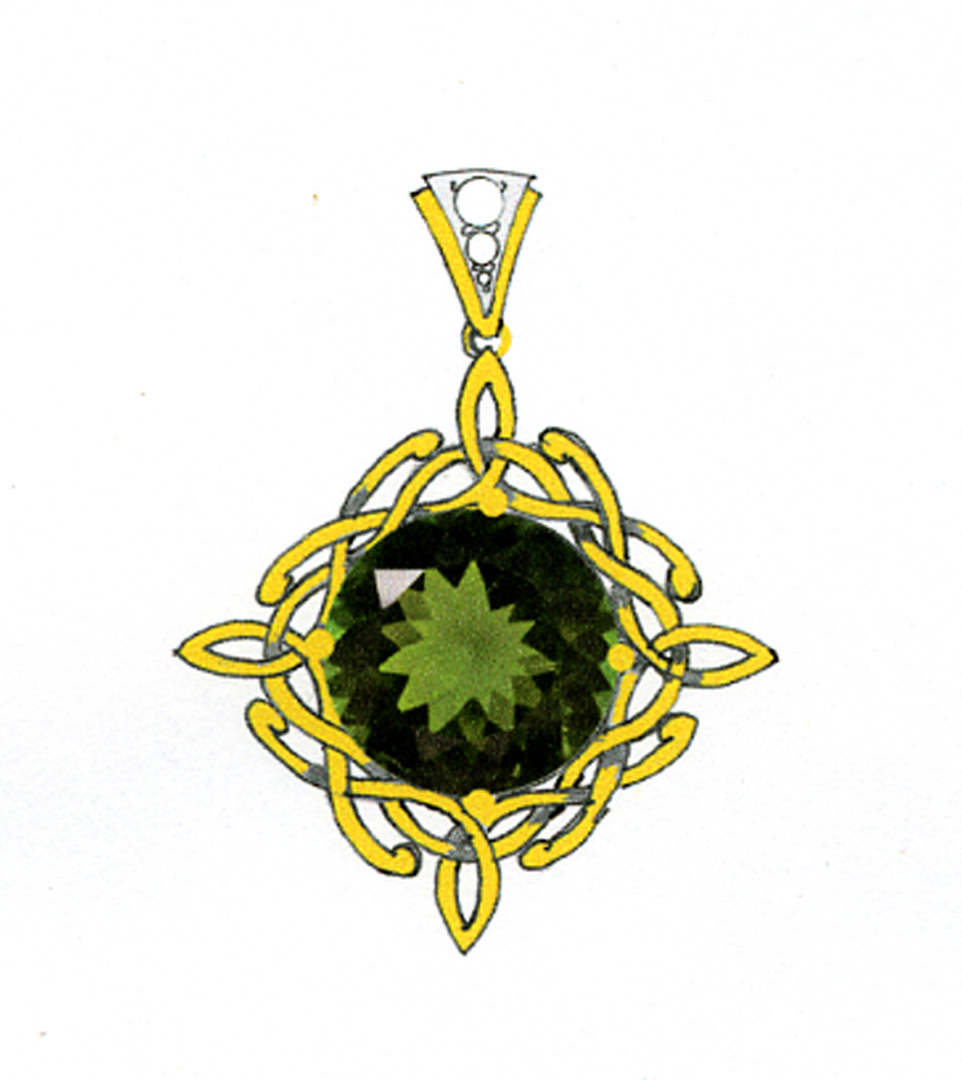 Concept Drawing for Green Tourmaline Celtic Pendant