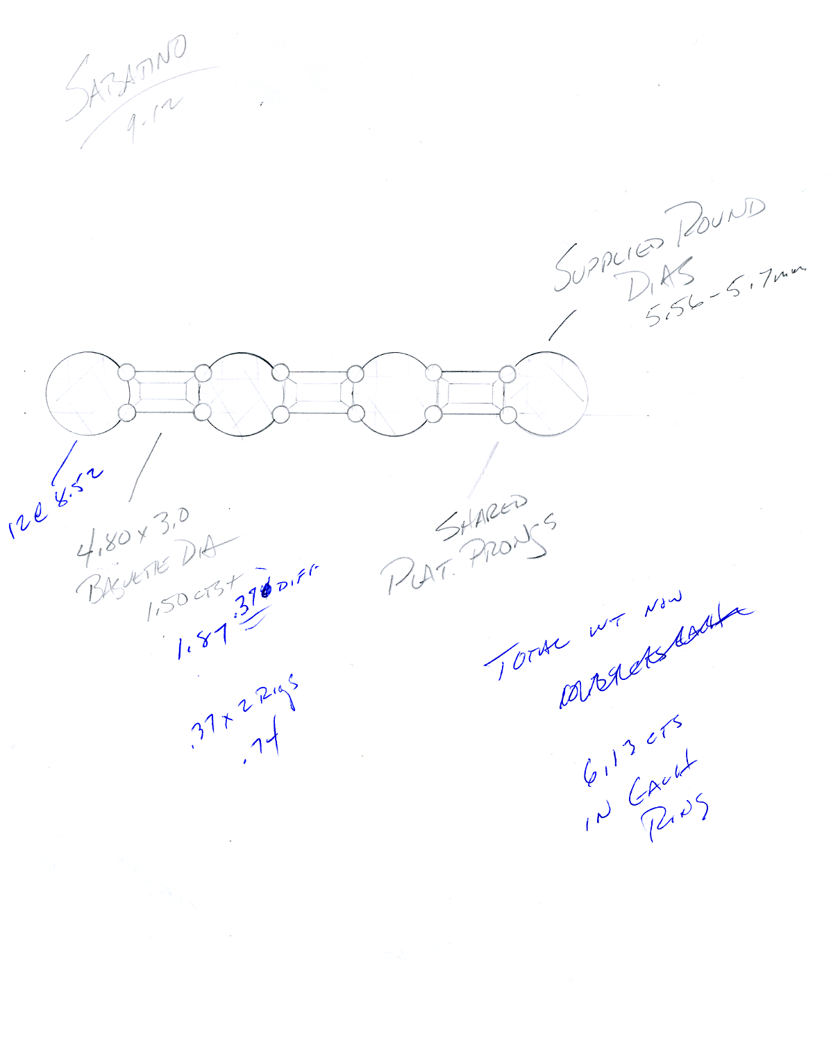 Sketch for Baguette and round diamond layout for eternity band