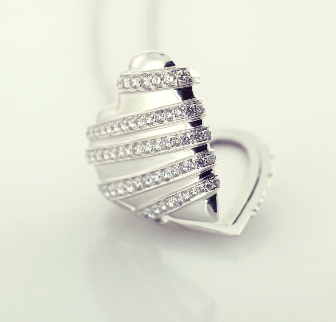 Diamond and 18KT White Gold Heart Diamond Pavé Wrapped Heart