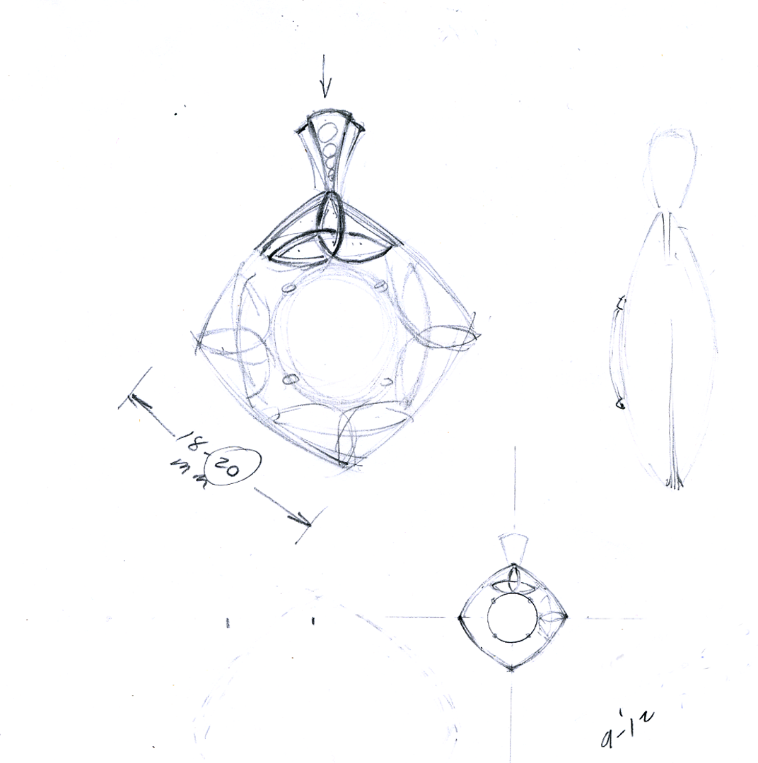 Initial concept drawing for green tourmaline celtic pendant