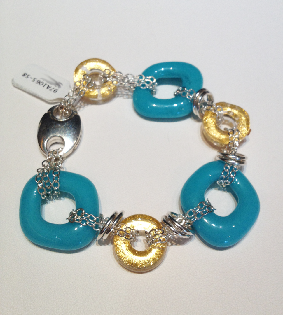 Opaque aqua glass and encased gold glass links with sterling silver chain