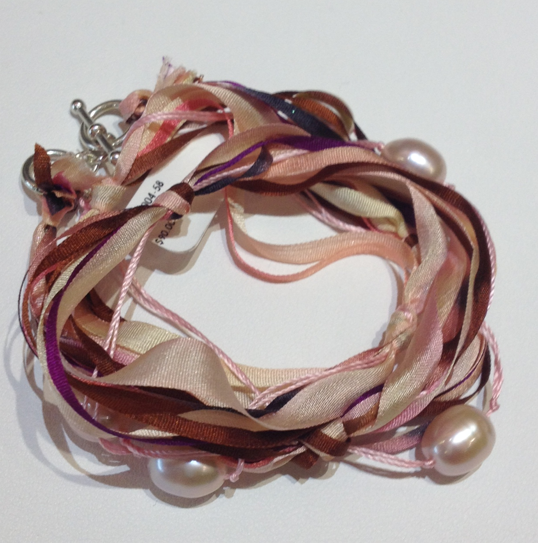 Hand dyed silk ribbon with freshwater pink pearls and sterling catch bracelet