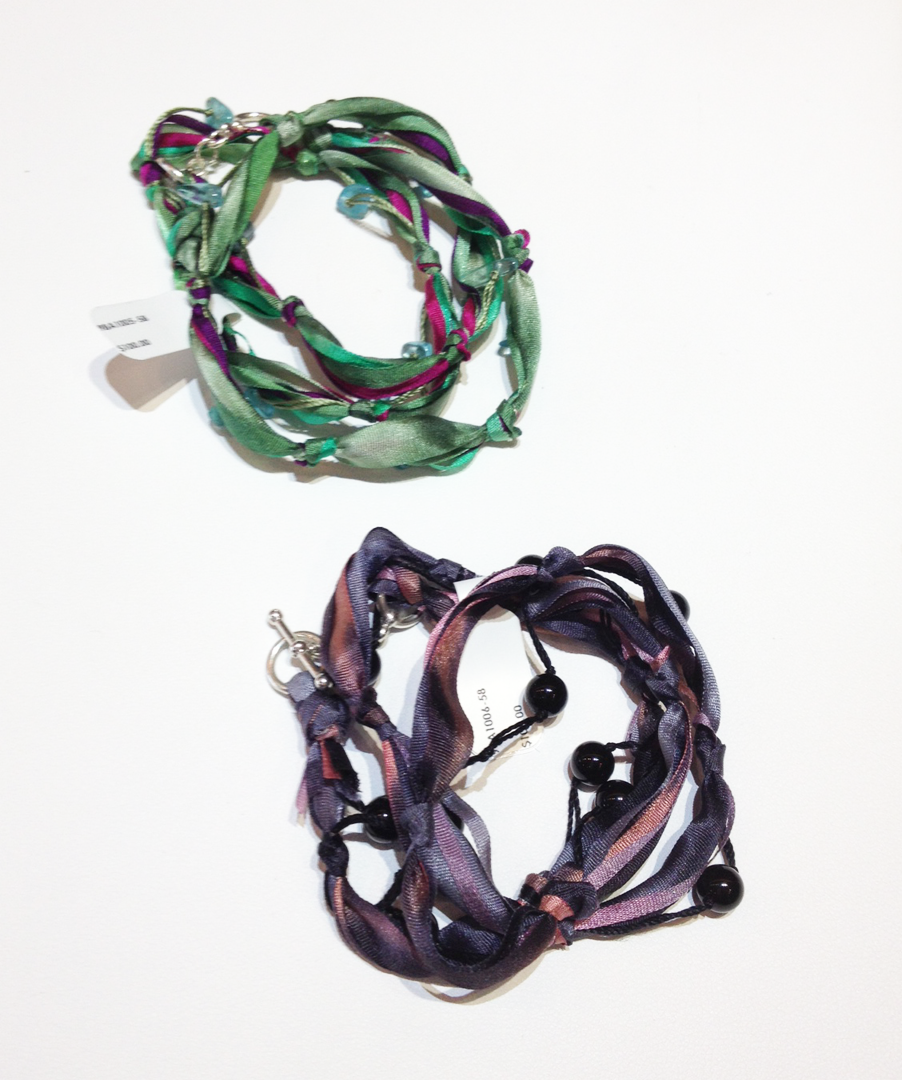 Hand Dyed Slk Ribbon, Gemstones and Sterling Silver Catch Braclets by Nora