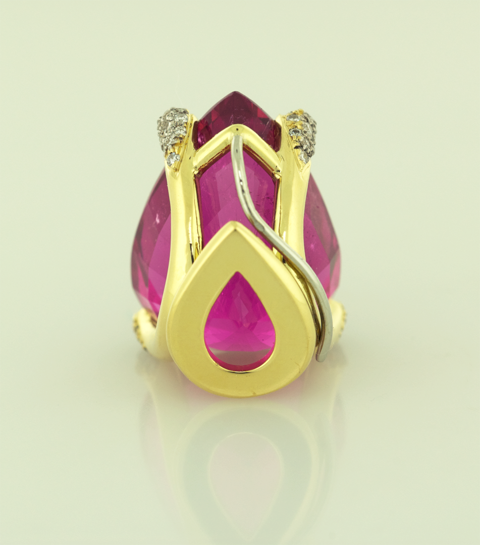 Hot Pink Tourmaline set in 18KT gold and diamond pavé prongs, Back View