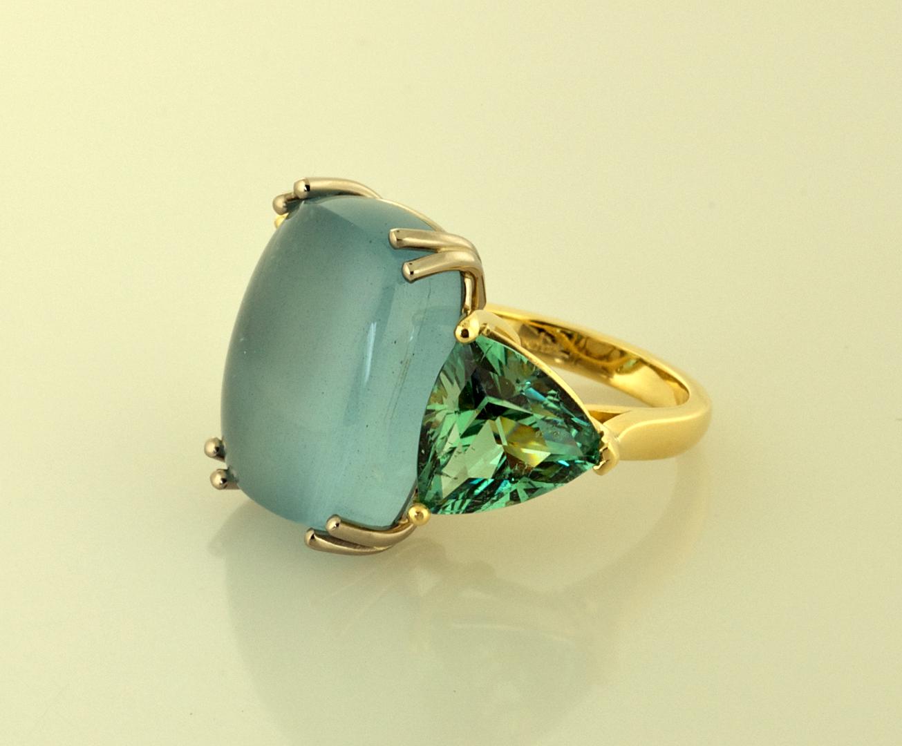 Three Stone RIng Set with Aquamarine and Green Tourmaline | Rings ...