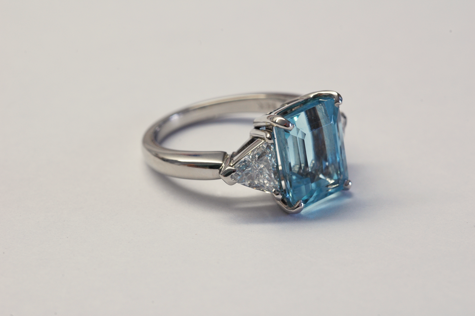 aquamarine and trillion diamonds three platinum ring