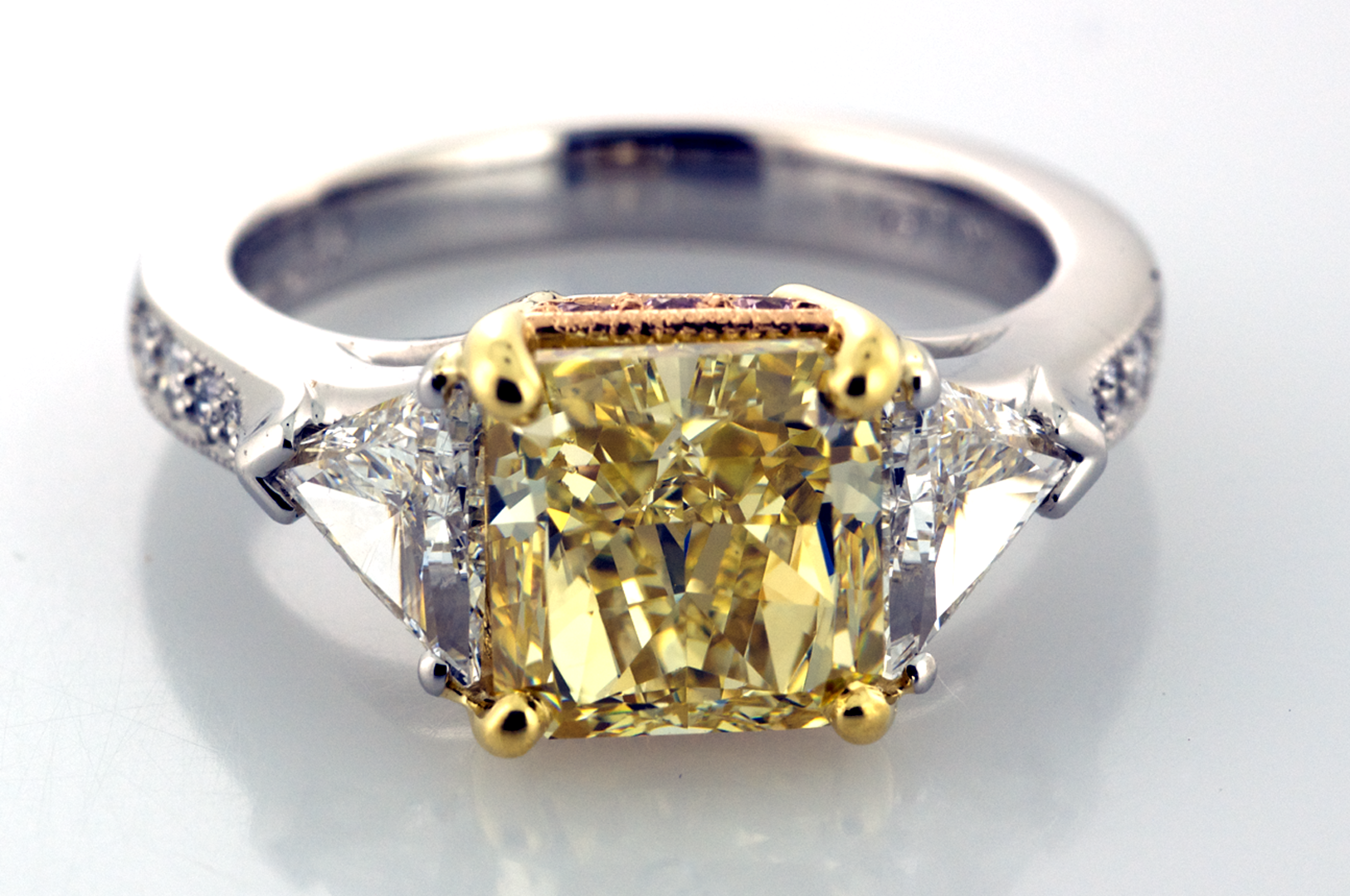 Three Stone Yellow and White Diamond Ring Three Stone Rings