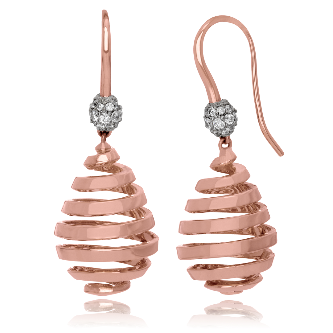 18kt rose gold earrings with 48 pave set diamonds for a total diamond