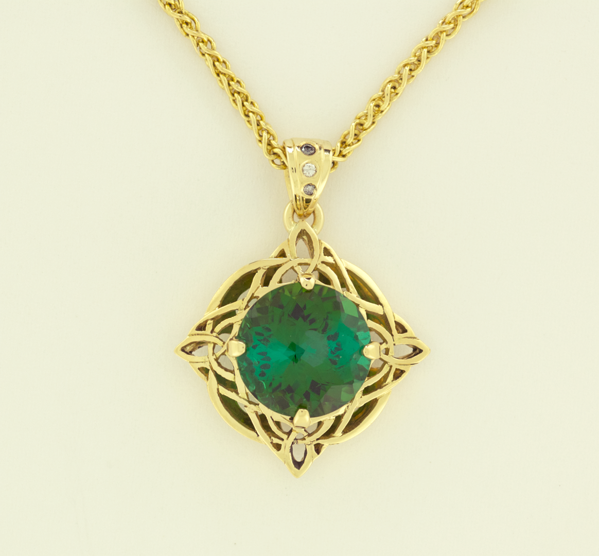 Green tourmaline 582cts celtic pendant necklaces artistic click here for purchase or inquiry aloadofball Images