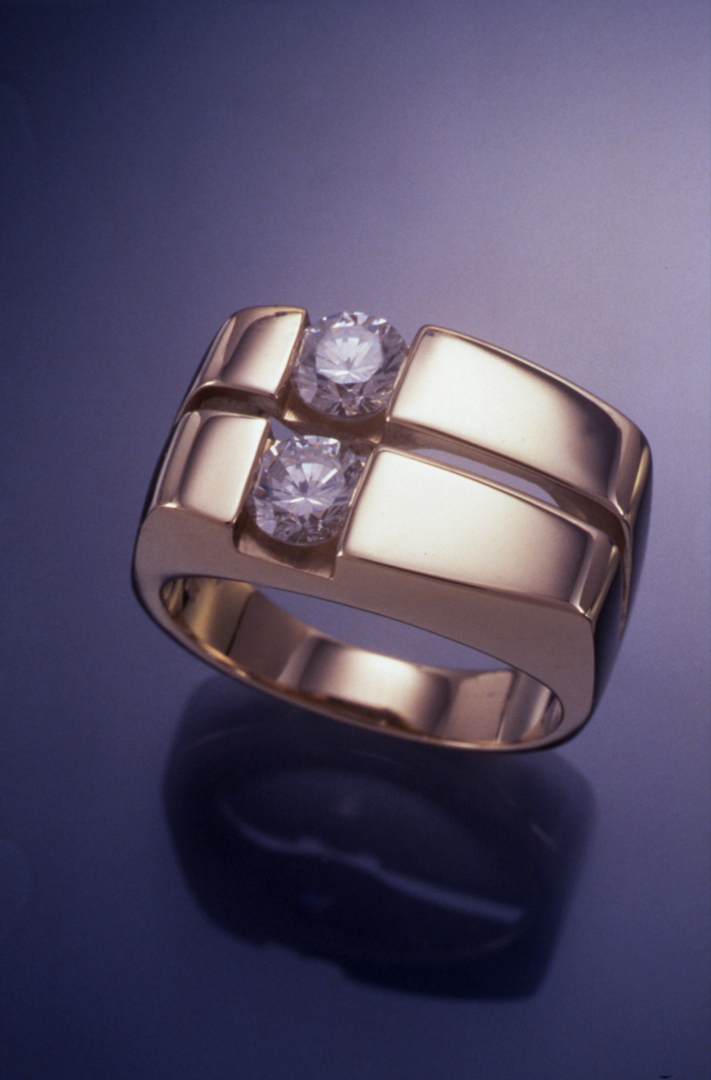 gents ring set with two diamonds r1470 rings artistic