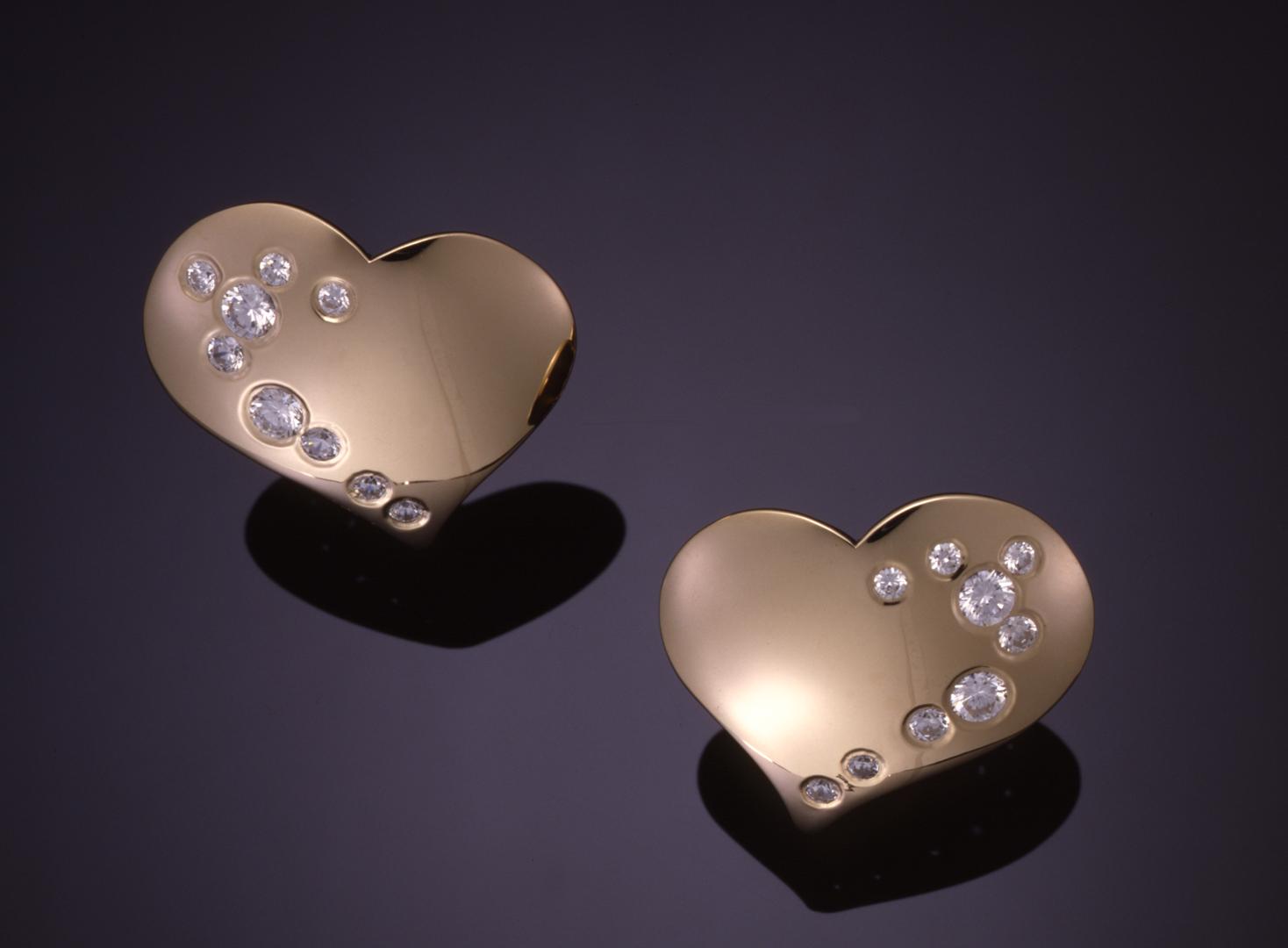 Diamond And Gold Heart Earrings E6300