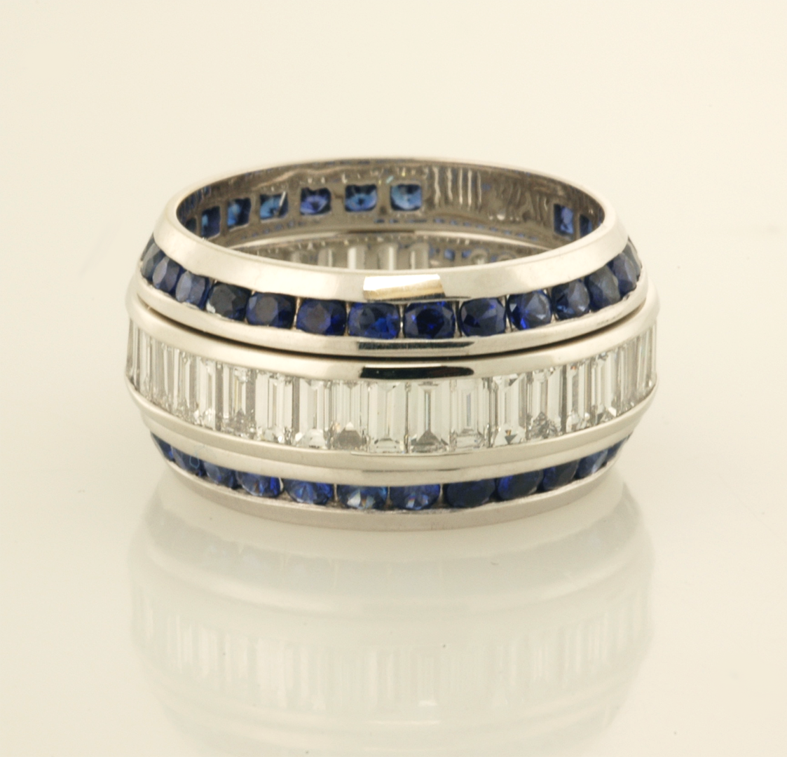sapphire fancy image and eternity sapphires coloured rainbow bands anniversary diamond band with half