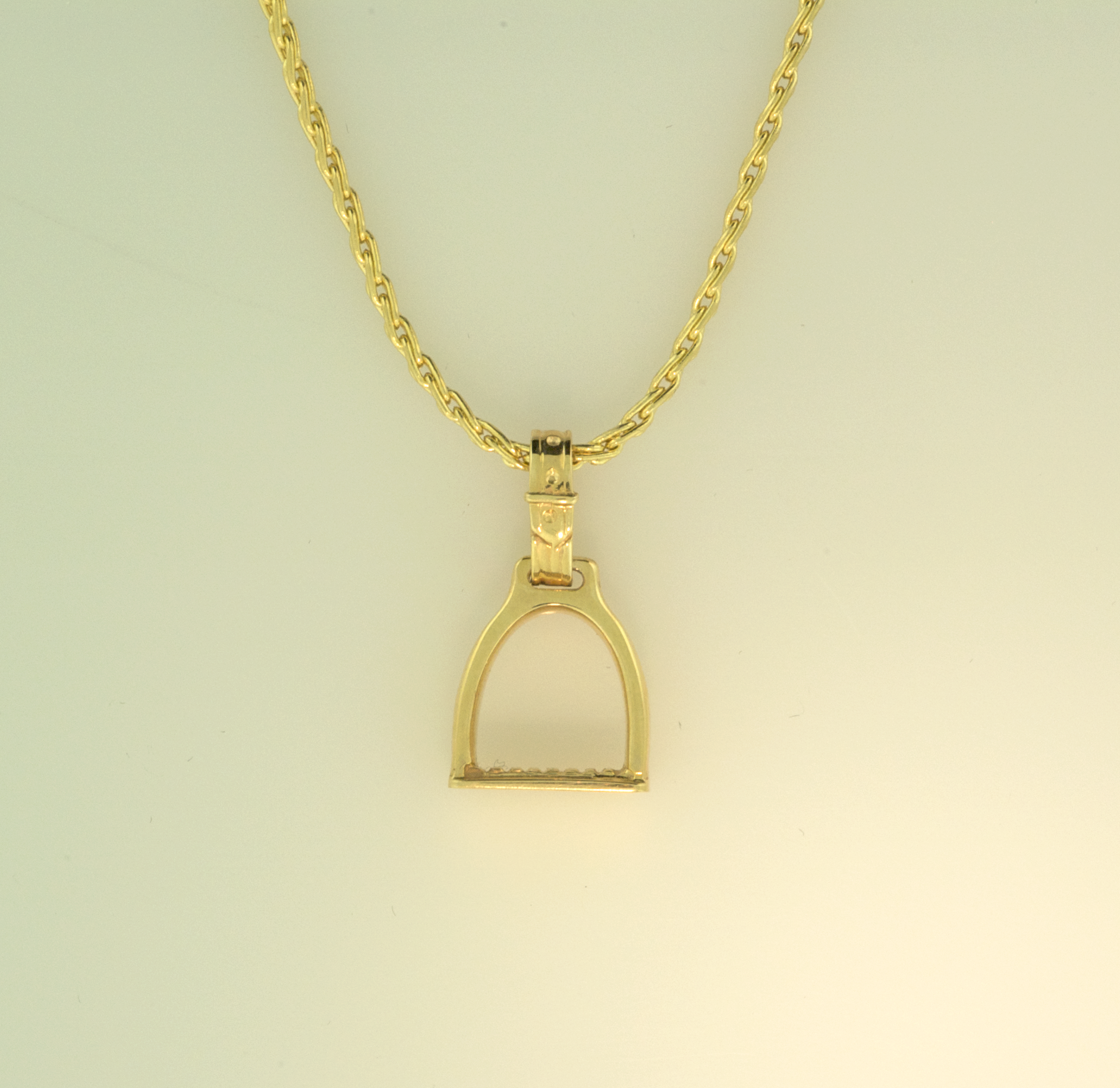 Equestrian large stirrup pendant equestrian signature collections 14kt yellow gold large stirrup pendant on 14kt yellow gold chain mozeypictures Choice Image