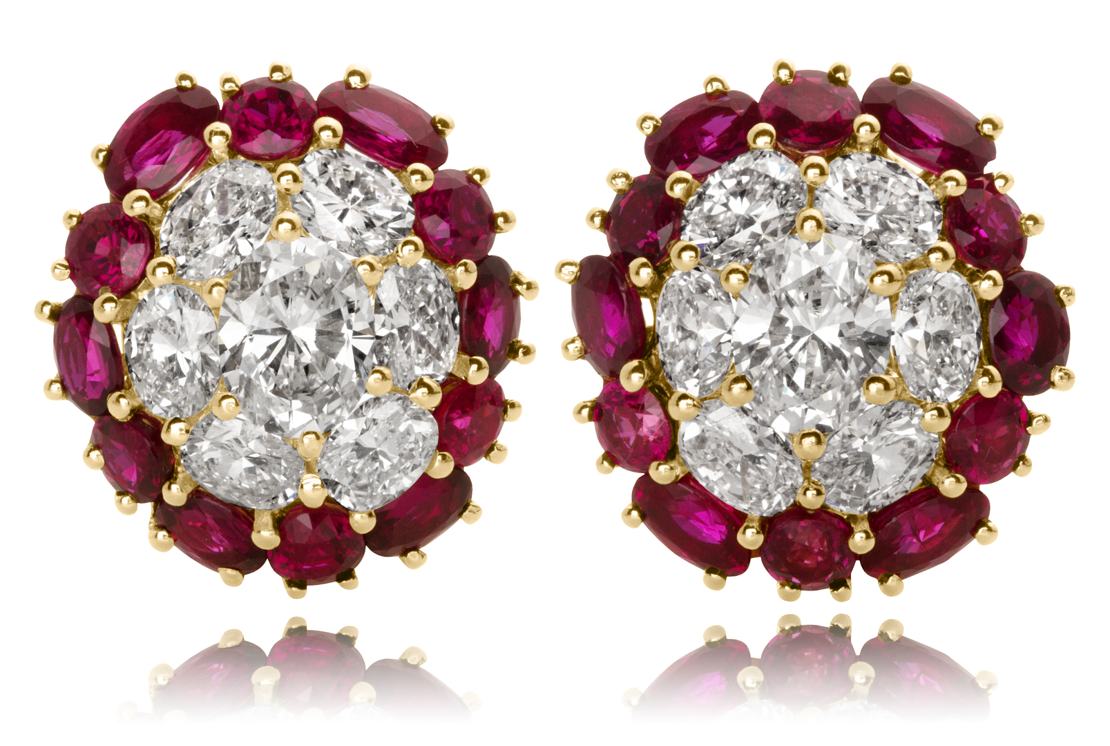 Ruby And Diamond Earrings In 18kt White Yellow Gold