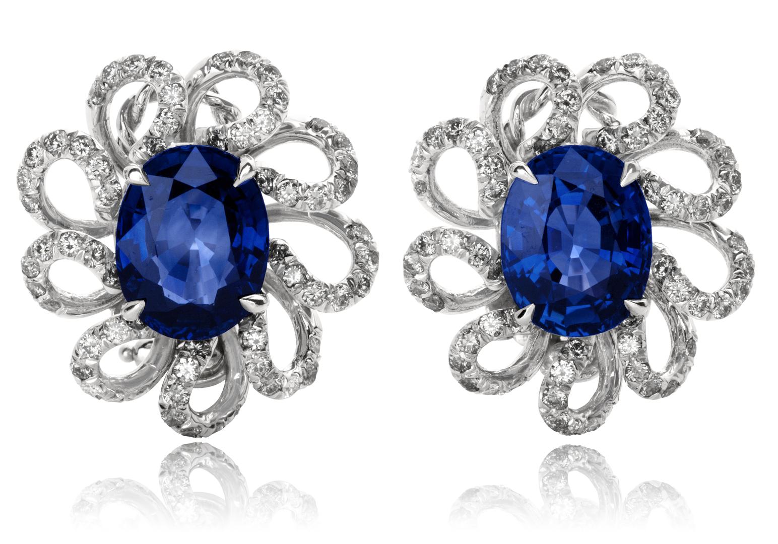 Blue Shire Diamond Earrings Fl