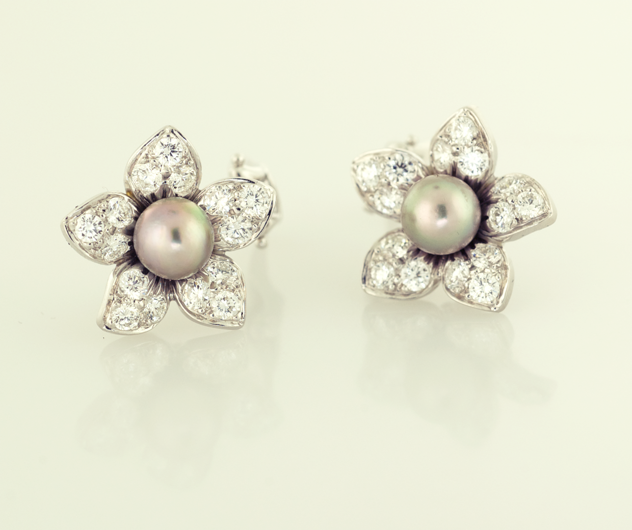 Black Pearl 65mm And 180ct Pavé Diamond Earrings Floral Motif