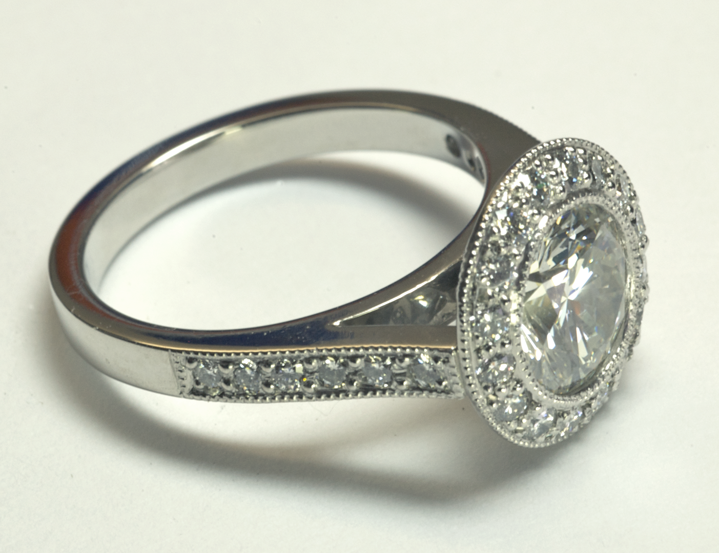 platinum solitaire with surround pav 233