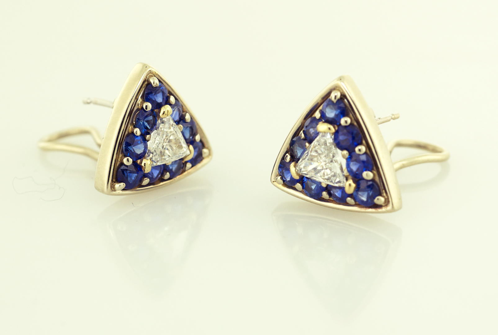 Diamond and Sapphire Earrings set with Trillian Shape Diamonds and Round Diam