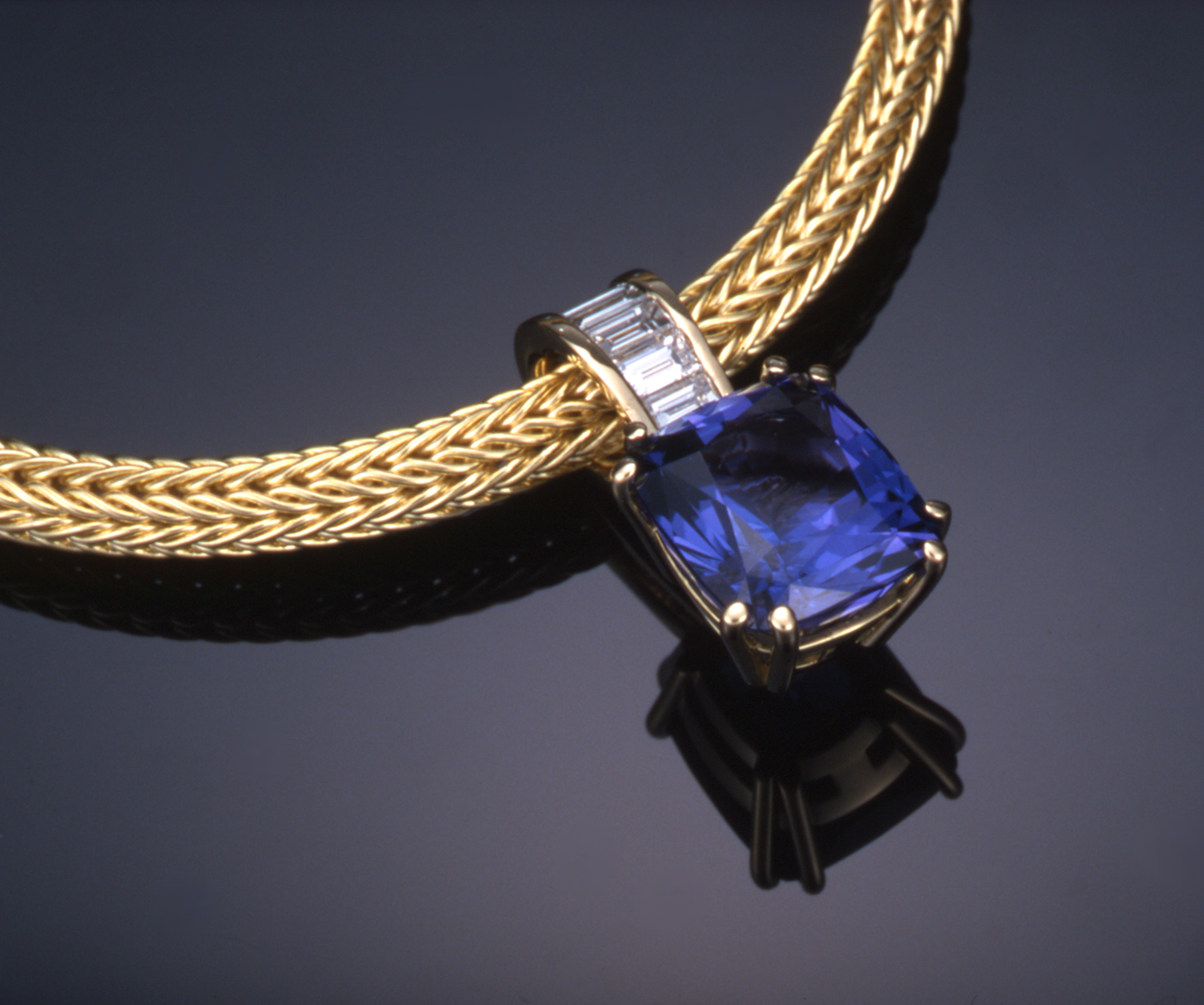Tanzanite and diamond pendant necklaces artistic innovations tanzanite 450ct and diamond pendant set in 18kt gold on woven chain mozeypictures Choice Image