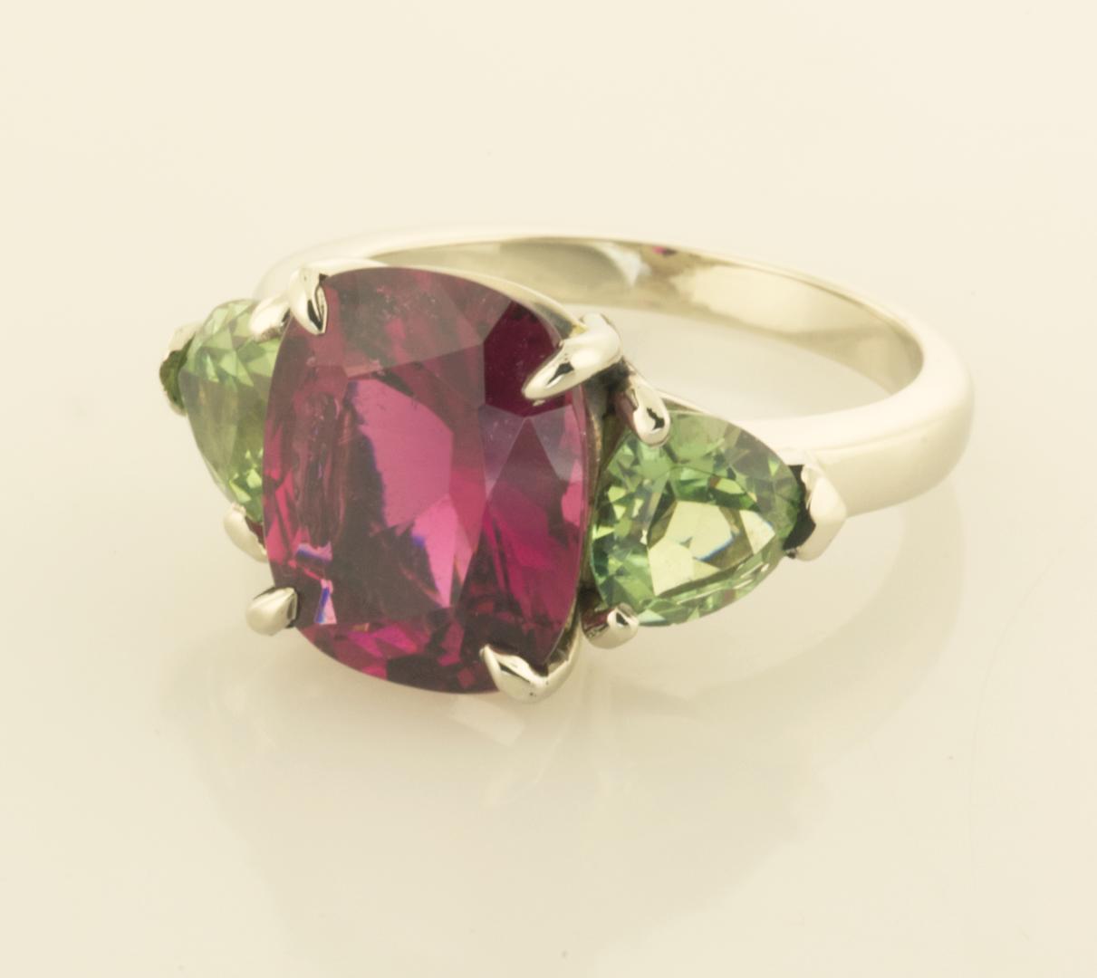 Three Stone Ring with Rubellite and Apple Green Tourmaline | Three ...