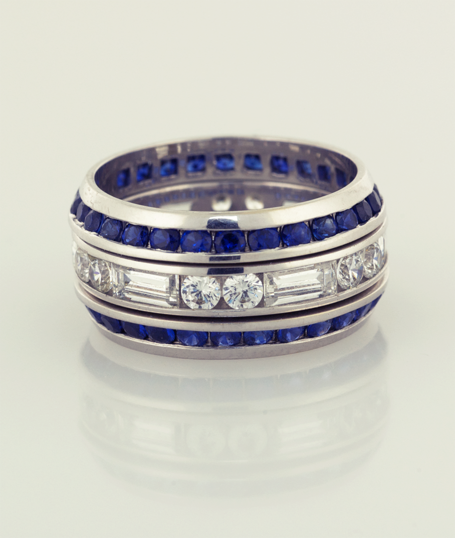 band with and love beveled encircle sapphire bands two round signature collections et baguette diamond eternity