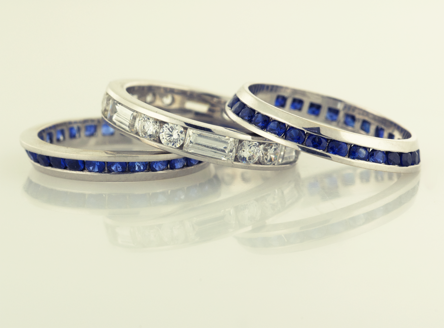 sapphire eternity in ring white silver band over p plated sterling gold