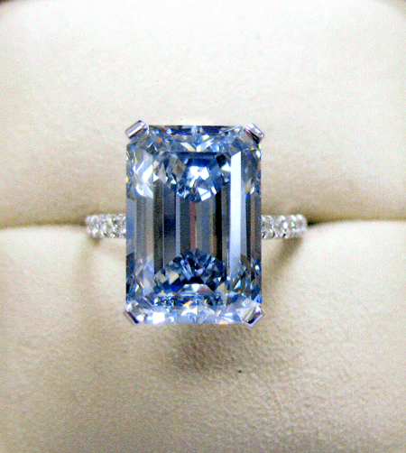Blue emerald cut diamond